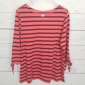 Old Navy Striped Top Coral/Navy XL